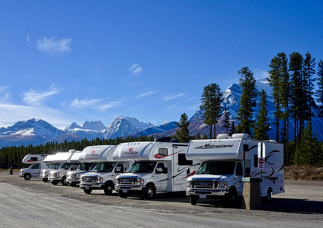 RVs parked in a row
