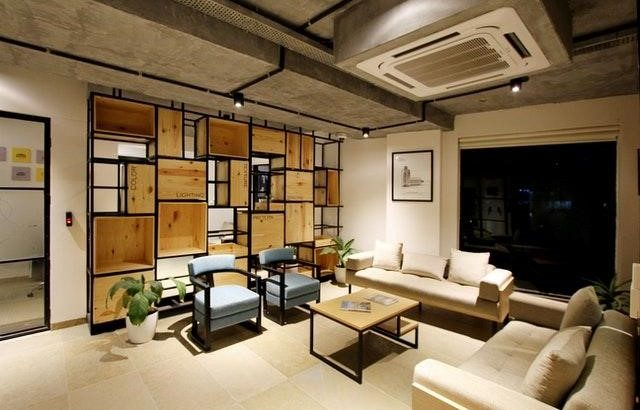 modern living room with wooden furniture
