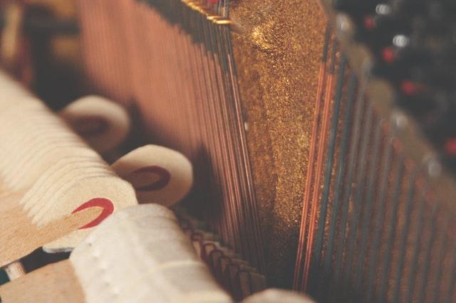 Close-up look at piano strings