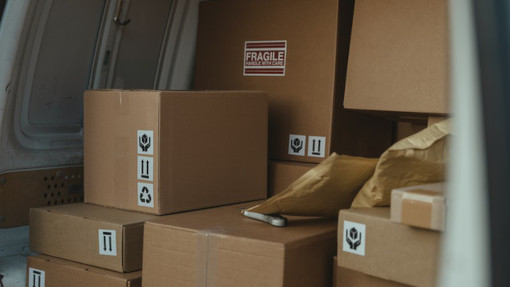 van loaded with boxes